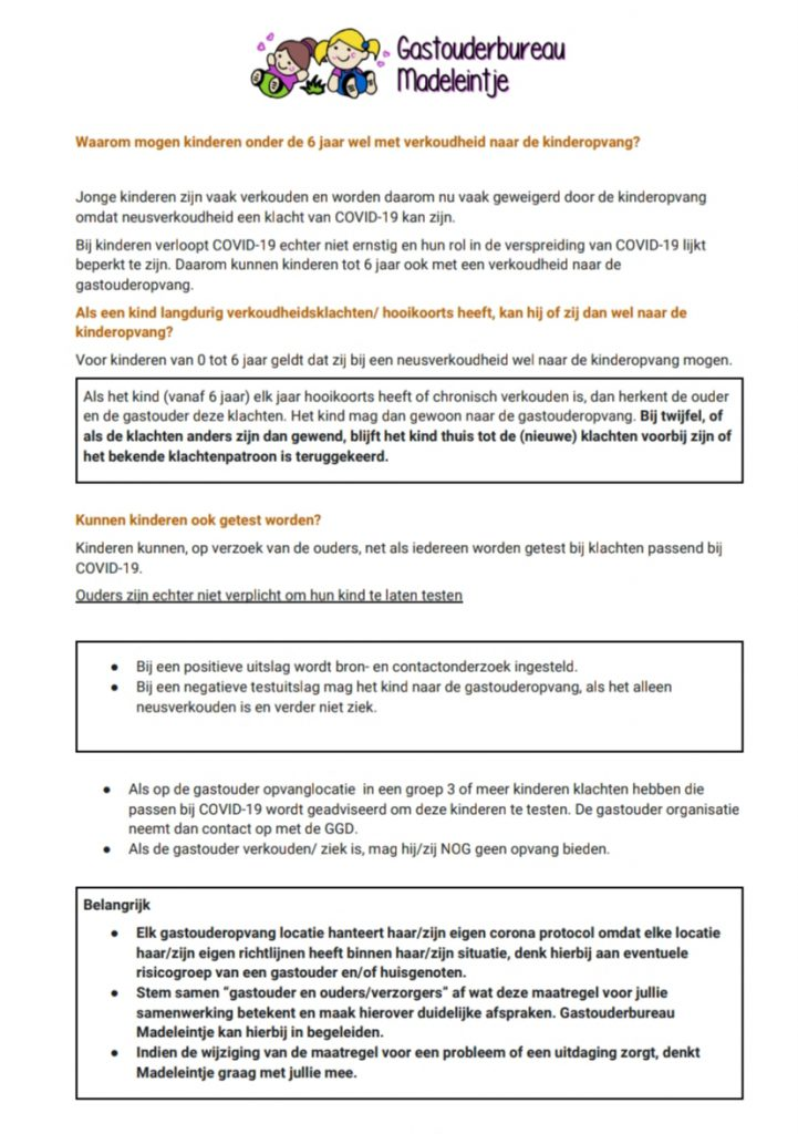 Madeleintje corona protocol per 18 juni 2020